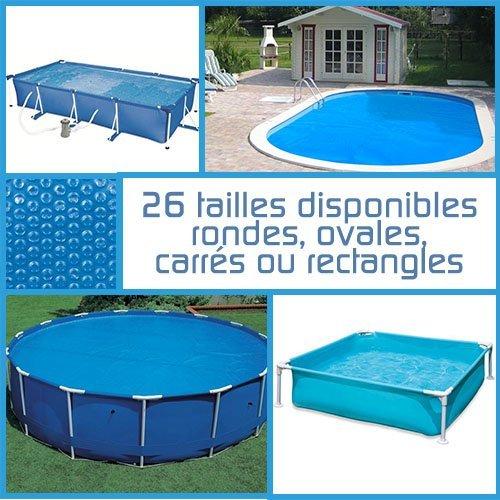 Linxor France ® Bâche à bulles ronde, ovale ou rectangle 180 microns pour piscine intex ou autre... / 26 tailles disponibles / Norme CE