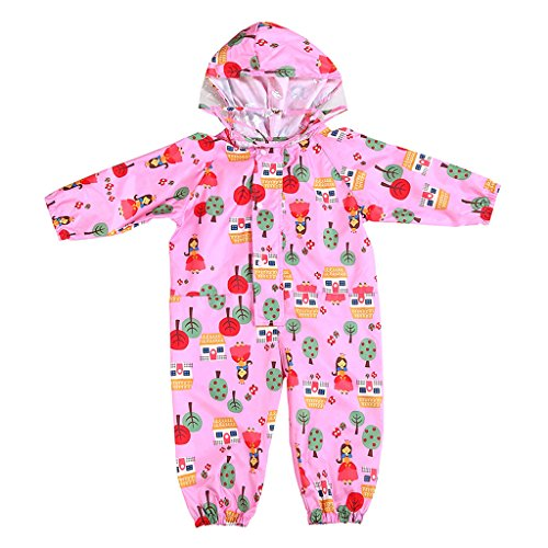 JiAmy Kids Baby One Piece Rain Suit with Hood Waterproof Coverall Outdoors 1-3 Years Pink