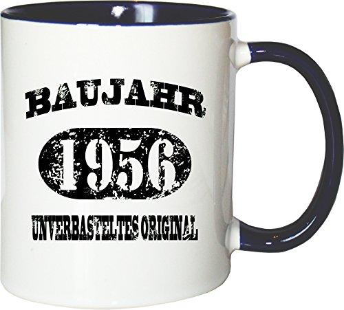 Mister Merchandise Becher Tasse Baujahr 1956 unverbasteltes Original Kaffee Kaffeetasse liebevoll Bedruckt Jahrgang Originalteile Parts Made in Weiß-Blau