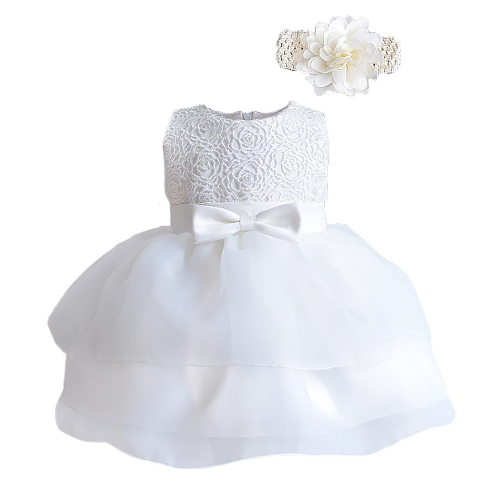 Baby Girls Christening Long Sleeve Embroidered Organza Satin Dress With Bonnet