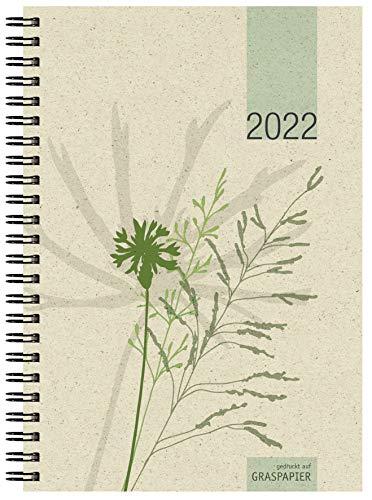 Wochenbuch Motiv Gras 2022 - 1W/2S - 13,7x19,6 - aus Graspapier - 4-sprachig - Büro-Kalender - 759-0640-1