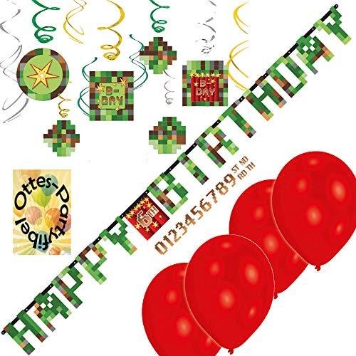 HHO TNT-Deko-Set Minecraft-Deko-Set bekannt aus Minecraft : Partykette Deko-Spiralen Luftballons