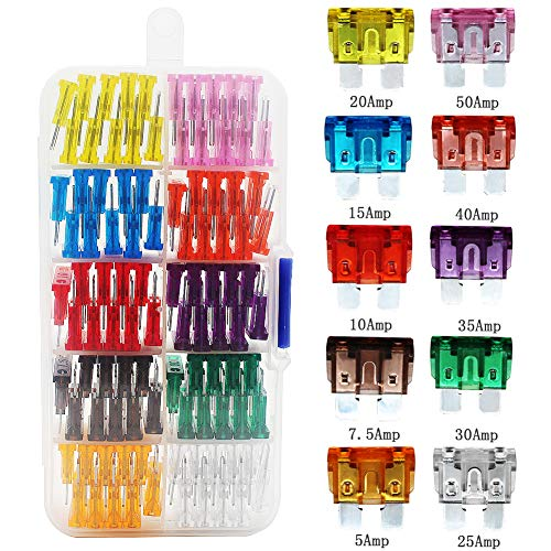 Standard Blade Fuses for RV Camper Auto Automotive Motorcycle Truck ATV UTV Car Boat, 5A 7.5A 10A 15A 20A 25A 30A 35A 40A 50A - 100 Pieces Blade Fuses Box Assortment