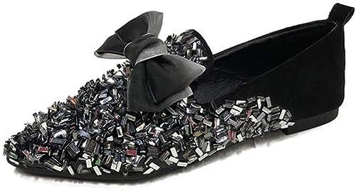 Mocassins Bow Bow Chaussures Plates De Pois Pointu Printemps étudiant Bow Sequin Sauvage  meilleure réputation