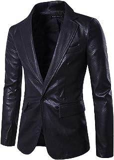 MISSMAO Mens Faux Leather Fashion Slim Fit One Button Blazer Jacket
