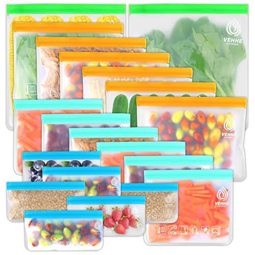 VEHHE 20 Pack Reusable Food Storage Bags (2 Gallon Reusable Freezer Bags +...