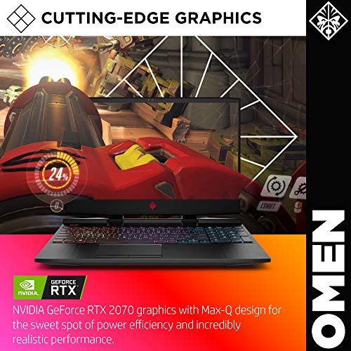 Product Image 1: OMEN by HP 2019 15-inch Gaming Laptop, 9th Gen Intel i7-9750H, NVIDIA GeForce RTX 2070 with Max-Q (8 GB), 16 GB RAM, 512 GB Solid-State Drive, VR Ready, Windows 10 Home (15-dc1060nr, Shadow Black)