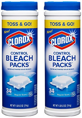 Clorox Control Bleach Packs, Regular Scent, HE, 34 Count, (Pack of 2)