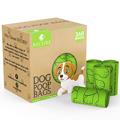 RECGRE Biodegradable Dog Poop Bags – 360 Counts Extra Thick Leakproof Poop Bags for Dogs – Extra...