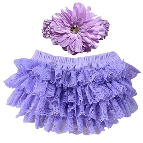 Wennikids Lace Ruffle Diaper Cover Bloomer and Headband Set for Baby Girls Large Lavender