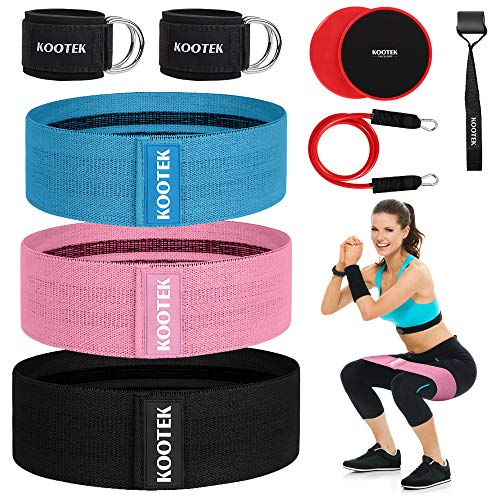 Kootek Booty Bands Resistance Bands for Butt and Legs 3 Levels Exercise Band with Door Anchor 2 Core Sliders Legs Ankle Straps Guide Book for Home Fitness Gym
