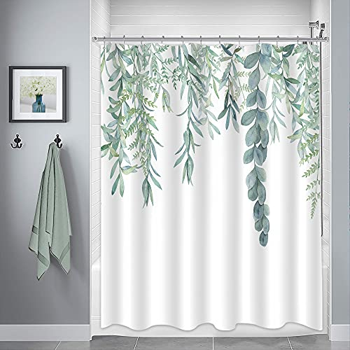 Riyidecor Green Leaves Shower Curtain 72Wx84H Inch Watercolor Plant Eucalyptus Organic Green Bathroom Accessories Fabric Waterproof Home Bathtub Decor 12 Pack Plastic Hooks CO-DC1V