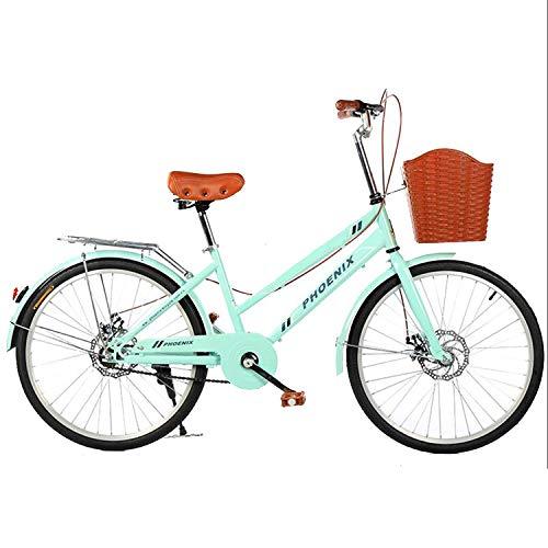 YI'HUI Bicicleta De 24 Pulgadas para Mujer, Bicicleta De Carretera, Bicicleta Retro, Bicicleta para Mujer, Acero Al Carbono Doble, Freno De Disco, Bicicleta para Niña,Verde