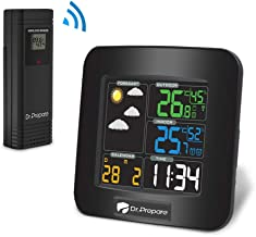 Dr. Prepare Digital Color Wireless Weather Station Thermometer with Clear LCD, Accurate Indoor Outdoor Temperature and Humidity, Dual Alarms, and Battery Backup (Black)