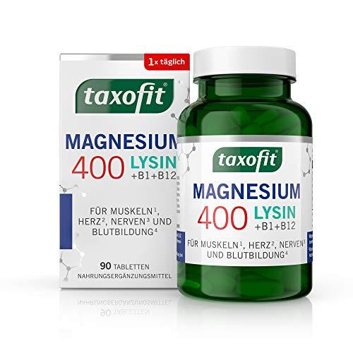 taxofit Magnesium 400 Lysin + für Muskeln, Nerven, Herz und Energie | ohne Gluten | Nahrungsergänzungsmittel | 90 Tabletten