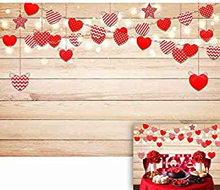 Allenjoy 7x5ft Valentine's Day Backdrop Red Heart Star Love Pattern Light Wood Photography Background Couples Romantic Birthday Party Supplies Cake Table Banner Home Decoration Photo Booth Prop