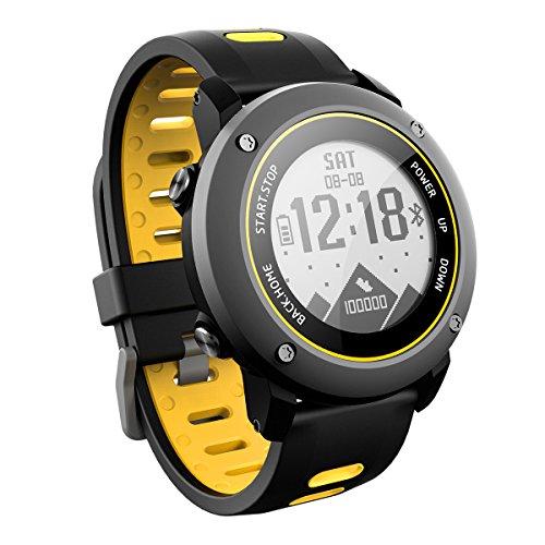 OOLIFENG GPS Reloj Inteligente, Fitness Tracker con Altímetro Barómetro Brújula Pulsómetros IP68 Impermeable Digital Deportes Reloj para Deportes Al Aire Libre,Yellow