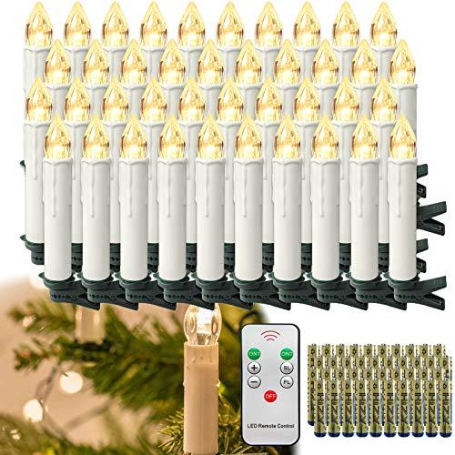 HENGMEI 40er LED Kerzen Weihnachtskerzen kabellos mit Fernbedienung und Batterie Christbaumkerzen Christbaumbeleuchtung Warmweiß Flammenlose Weihnachtsbeleuchtung für Weihnachtsbaum, Hochzeit, Partys