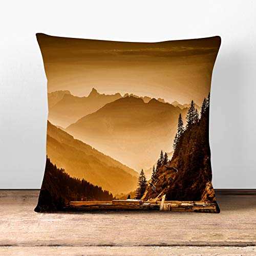 Big Box Art Cushion and Cover - Arlberg Pass Forest Mountain Landscape - Single Square Throw Pillow - Soft Faux Suede Material - Charcoal Rear - 40x40 cm