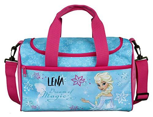 Sporttasche mit Namen | Motiv Frozen in hellblau und rosa | inkl. NAMENSDRUCK | Bedrucken & Personalisieren | Reisetasche Tragetasche mit großem Hauptfach | Eiskönigin Anna & ELSA