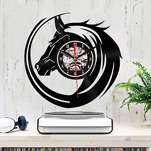 LOISK Pferdekopf Schallplatte Wanduhr, Uhr Wand 30CM Retro Dekorative Geräuscharm Lautlos Wanduhr für Wohnzimmer, Schwarz