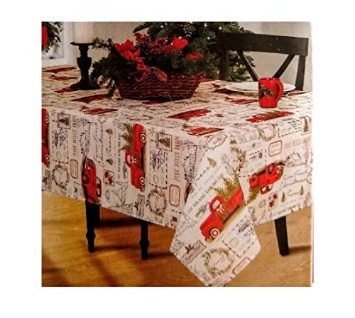 Winter Wonder Lane Vintage Red Pickup Truck Carrying Tree Fabric Tablecloth (52x70)