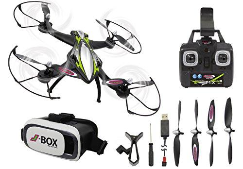 JAMARA 422021 - F1X VR Altitude FPV Wifi Kompass Flyback - Race Drone, inklusiv VR-Brille, über Sender und App steuern, 3 Geschwindigkeiten, 40 KM/h, Höhenkontrolle (Barometer) und Rückflugautomatik