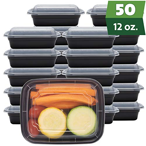 [50 Sets - 12 oz.] Meal Prep Containers With Lids, 1 Compartment Lunch Containers, Bento Boxes, Food Storage Containers