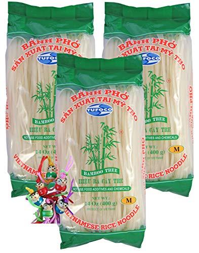 yoaxia ® - 3er Pack - [ 3x 400g ] BAMBOO TREE Vietnam Reisnudeln / 3mm Banh Pho / Bandnudeln / Rice Noodles + ein kleines Glückspüppchen - Holzpüppchen