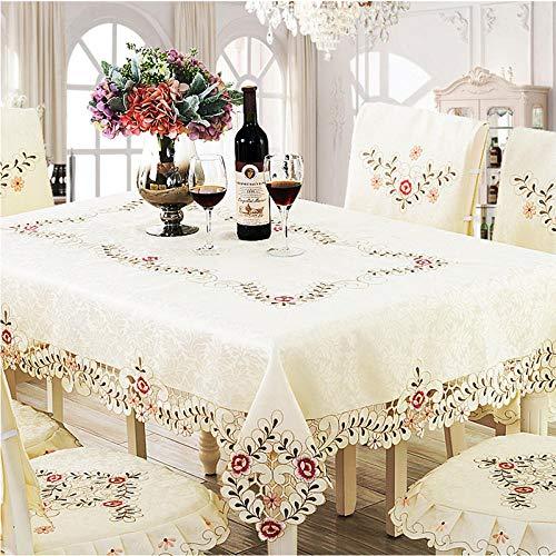 Creek Ywh tafelkleedenset en servetten tafelloper uit Korea, doek, doek, tuindoek, windscherm, tafelkleed, rooster, blauw, 150 x 200 cm, met borduurwerk, 150 x 200 cm