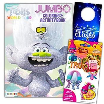 Trolls Coloring Book Set Bundle with Trolls Stickers & Castle Door Hanger ~ Poppy Branch Bridget and More!  Assorted