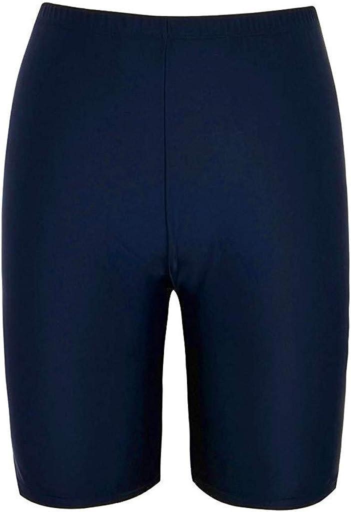 LODDD Women Sport Swimsuit Sunscreen Elastic Bathing Bottom Skinny Capris Solid Color Swim Shorts Trunks