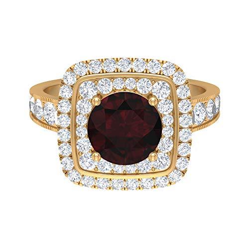 Anillo de compromiso Art Deco, 3 quilates D-VSSI moissanite, 8 mm de forma redonda anillo granate, anillo de halo de declaración, colección de joyas de oro nupcial, 10K Oro amarillo, Size:EU 64