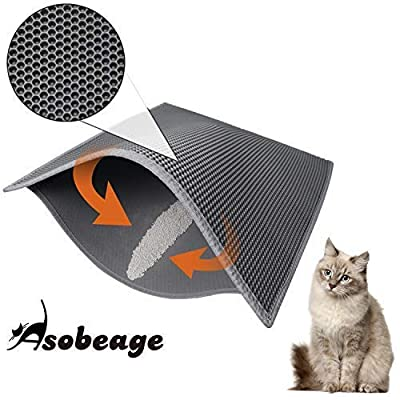 ASOBEAGE Premium Cat Litter Mat, Cat Litter Box Mat Scatter Control,Waterproof Double Layer Honeycomb Design,Easy Clean Washable EVA Material from ASOBEAGE