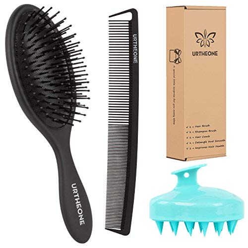 Hair Brush, Hair Comb and Soft Silicone Scalp Massage Shampoo Brush Set for Women Men Kids Girls Detangling and Styling, Best Paddle HairBrush for Dry Wet Thick Thin Long Short Curly Natural Hair