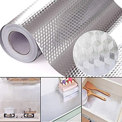 PINK PARI (LABEL) 2 m Aluminium Foil Stickers, Oil Proof, Kitchen Backsplash Wallpaper Self-Adhesive Wall Sticker Anti-Mold and Heat Resistant for Walls Cabinets Drawers and Shelves