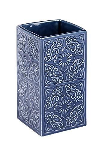 Wenko Cordoba Vaso para Cepillos de Dientes, Cerámica, Azul, 6.5x6.5x12 cm