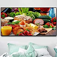 アートパネル ZAJFBH パンフルーツキッチン野菜キャンバス絵画クアドロスレストランポスターとプリントウォールアートフード写真リビングルーム 19.7x47.2in(50x120cm)x1pcs フレームなし フレームなし