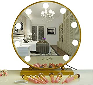 AIMEE-JL Lighted Makeup Mirror Hollywood Style Vanity Mirror Cosmetic Mirror Large Tabletop Makeup Dressing Mirror Dimmable Touch Control 9 LED Bulbs Lights 40CM Round (Gold)
