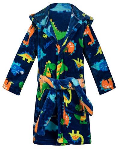 Kids Little Boys Girls Cartoon Animal Hooded Bathrobe Toddler Robe Pajamas Sleepwear (Dinosaur robes, 4-5T)