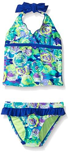 Breaking Waves Girls' Little Rainbow Rose Tankini Swimsuit, Multi, 6
