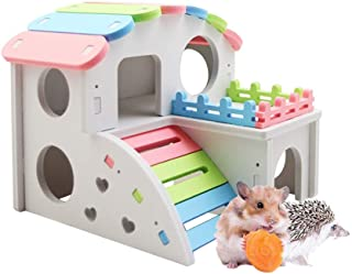 MUMAX Wooden Hamster House, Rainbow Color Compound Villa Design with Exercise Bridge Funny Living Hut Nest Toy for Small A...