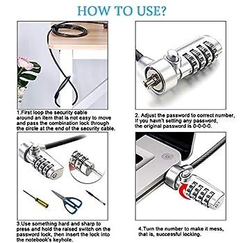 CestMall Serrures de sécurité pour Ordinateur Portable, verrou de câble d'ordinateur de 2 m Combinaison de Verrouillage d'ordinateur Portable avec Protection de Mot de Passe à 4 Chiffres et câble