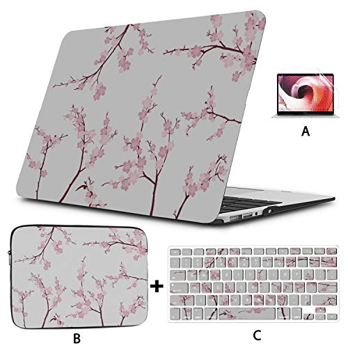 Accessories for MacBook Pro Retro Japanese Pink Cherry Blossom Case for MacBook Hard Shell Mac Air 11'/13' Pro 13'/15'/16' with Notebook Sleeve Bag for MacBook 2008-2020 Version