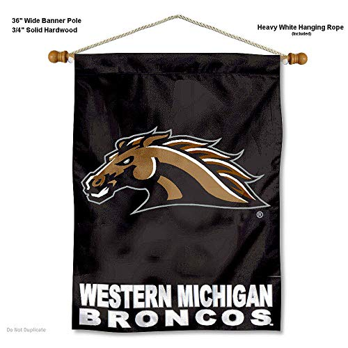 Western Michigan Broncos Banner with Hanging Pole
