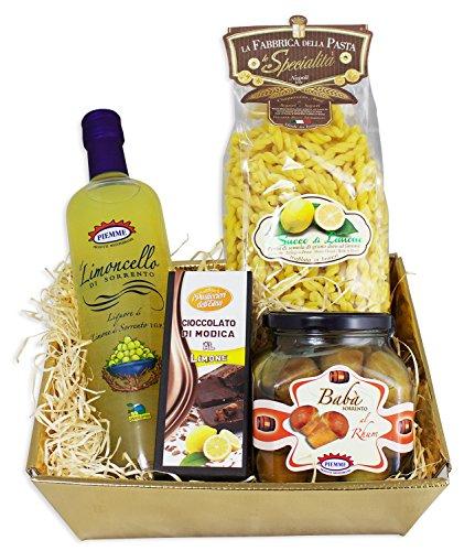 Italienischer Feinkost Geschenkkorb AMALFI mit Limoncello aus Sorrento, Baba, Pasta und Modica Schokolade Geschenkkorb Italienisch