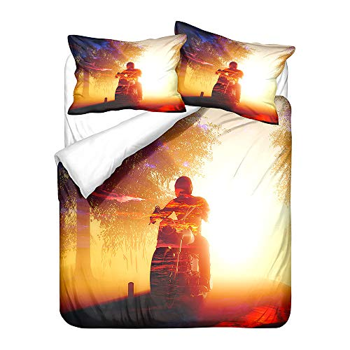 Hiser Duvet Cover Set 3 Pieces - 3D Motorcycle Printed Bedding Sets for Boy Girl Bedroom Single Double King Bed - Microfiber Quilt Case with Pillowcases (Motorcycle 7,180x220cm)