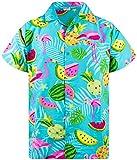 King Kameha Funky Hawaiihemd, Kurzarm, Flamingos Melonen, Türkis, M