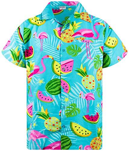 King Kameha Funky Hawaiihemd, Kurzarm, Flamingos Melonen, Türkis, XL
