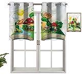 Hiiiman Cortinas pequeñas para ventana, decoración del hogar, casa de setas, juego de 1, 91,4 x 45,7 cm para cocina, comedor, habitación de niñas, filtro de luz
